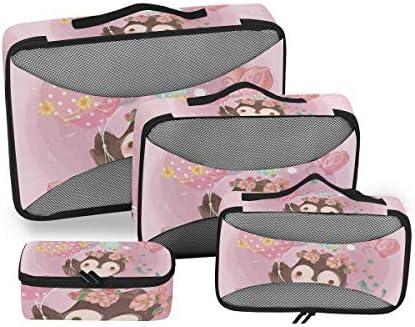 ピンクフライングナマケモノ荷物パッキングキューブオーガナイザートイレタリーランドリーストレージバッグポーチパックキューブ4さまざまなサイズセットトラベルキッズレディース