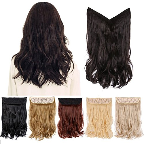 Creamily 15inch Long Wavy Curly Synthetic Hair Extension Secret Miracle Heat Resistance Hair Wire Hairpieces Adjustable Wire No Clip for Women ( Dark Brown )