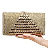 W&P Women Evening Bag PU Polyester All Seasons Wedding Event/Party Formal Minaudiere Rhinestone Clasp Lock Blue Gold Black Silver Red
