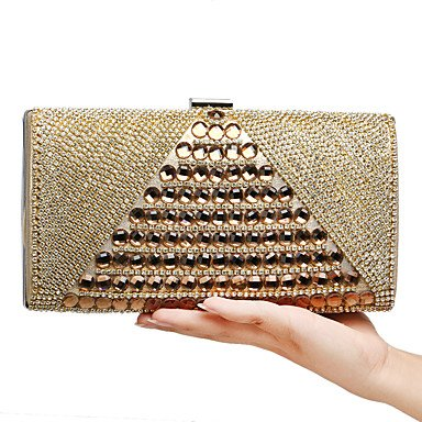 W&P Women Evening Bag PU Polyester All Seasons Wedding Event/Party Formal Minaudiere Rhinestone Clasp Lock Blue Gold Black Silver Red by W&P Outdoors