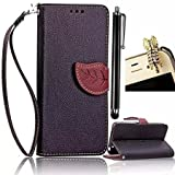 Galaxy S7 Case,Vandot 3 in 1 Set Exclusive Detachable Leaf Book Style Wrist Strap Wallet Protective Skin Pouch Phone Case For Samsung Galaxy S7 SM-G930F,PU leather Magnetic Closure Flip Stand Anti-scratch Cover Pattern+Diamond Cat Anti Dust Plug+Stylus Pen-Black
