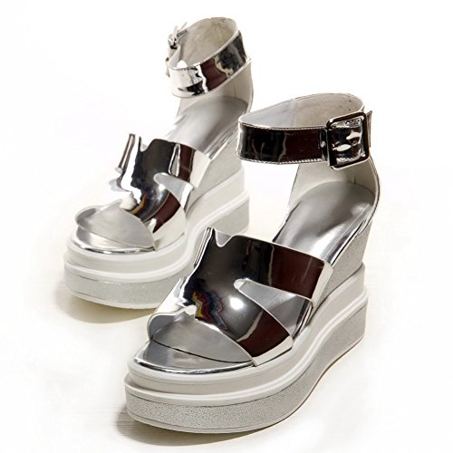 AmoonyFashion Womens Patent Leather Buckle Open Toe High-Heels Solid Sandals Silver Jnz0m