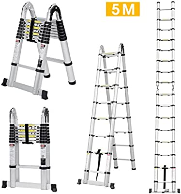 finether 5 m Escalera telescópica de – Escalera extensible aluminio escalera multiusos Escalera escalera escalera telescópica de diseño Soporta hasta 150 kg de alta calidad aluminio Resistente: Amazon.es: Bricolaje y herramientas