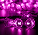 Rextin 20ft 30 LED Bell Outdoor Solar String Lights Pink Waterproof for Garden Patio Fence Path Landscape Wedding Party Christmas Decoration (Pink)