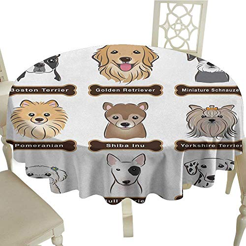 longbuyer Round Tablecloth Black Dog,Various Type of Dogs Nameplate Boston Terrier Domestic Animal Faithful Loyal,Grey Cream White D60,for Umbrella Table