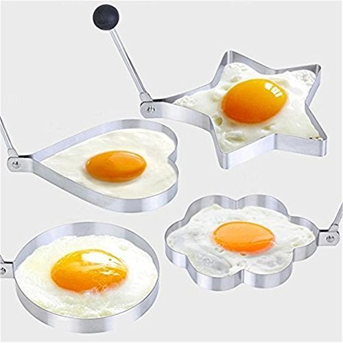 SMO Thick stainless steel Kitchen stove Fried Egg Poacher Pancake Poach Ring with handles- 4 pieces