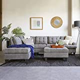 Product review for 3pc Modern Reversible Grey Charcoal Sectional Sofa Couch with Chaise and Ottoman