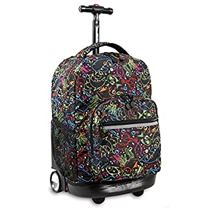 J World New York Sunrise Rolling Backpack, Doodle