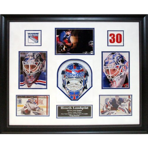 NY Rangers Henrik Lundqvist signed mini helmet shadow box with 5 photos Steiner COA