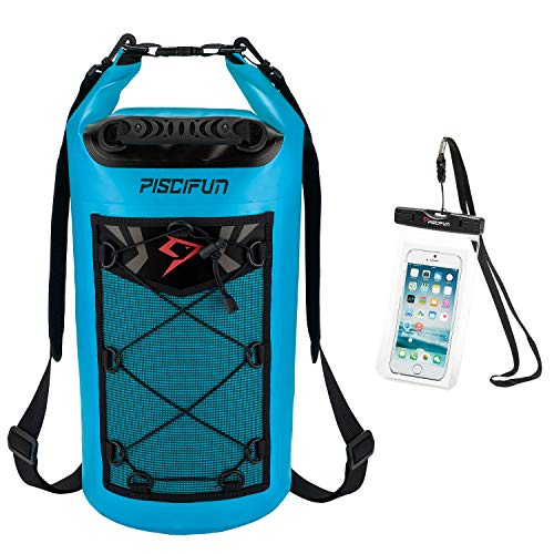 Piscifun Waterproof Dry Bag Backpack 10L Floating Dry Backpack with Waterproof Phone Case for Water Sports - Fishing Boating Kayaking Surfing Rafting Camping Gifts for Men and Women Light Blue