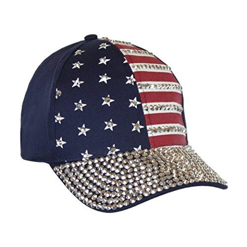 USA Bling Baseball Cap, Sparkle Rhinestone American Flag Hat, Adjustable Size (Cadet Cap Rhinestone)