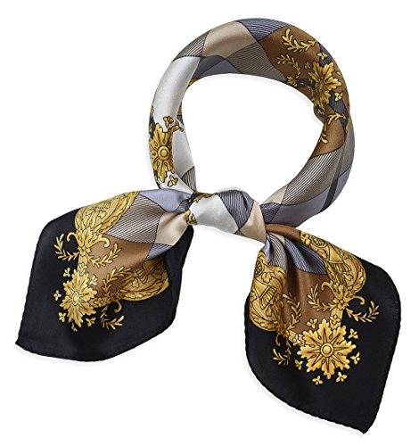 Square 100% Mulberry Silk Stewardess Bank Clerk Neckerchief Scarf Lattice Buff and (Scarf Bronze)