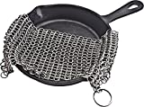 "Cast Iron Cleaner Chainmail Scrubber XL 7""x7"" Premium Stainless Steel for for Cast Iron Pan Pre-Seasoned Pan Dutch Ovens Waffle Iron Pans Scraper Cast Iron Grill Scraper Skillet Scraper Storage Hook"
