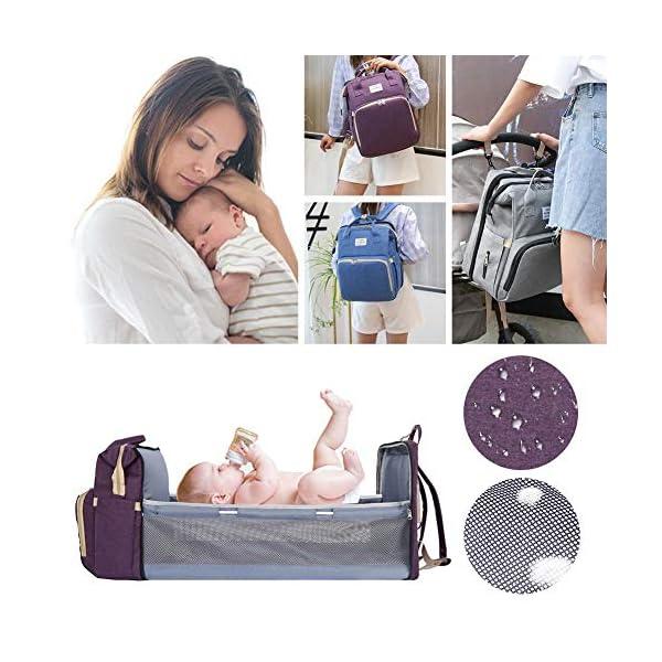Borsa Portatile per Pannolini Multifunzionale per Bambini da Viaggio, Borsa Fasciatoio Portatile per La Mamma, Zaino… 3