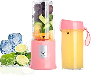 Toycol Portable Personal Size Blender Bottles for Shakes and Smoothies USB Rechargeable Mini Fruits Juicer Cup BPA Free Wireless 6 Blades Strong Power Ice Mixer with 2 Bottles Gift Box Set 10.8 OZ (Pink)