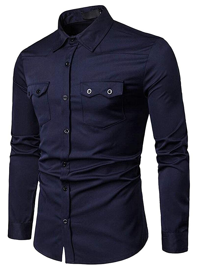 UUYUK Men Solid Long Sleeve Pocket Front Button Up Casual Business Dress Work Shirt