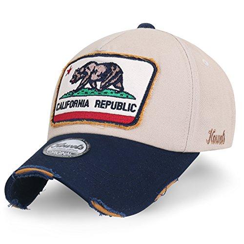 ililily Illustration Patch Distressed Cotton Baseball Cap Vintage Trucker Hat Beige