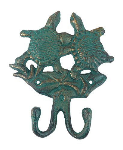 Cast Iron Sea Turtle Hook Verdigris Finish, 6'' Tall