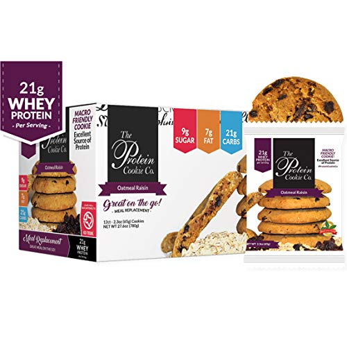 The Protein Cookie Company Protein Cookies (Oatmeal Raisin 12 Pack) - Protein Powder Cookies - Protein Meal Replacement Cookie With 22g Of Protein