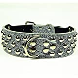Dogs Kingdom 3 Rows Silver Rivets Studded Faux Croc Leather Dog Collars Necklace For Medium/Large Dogs Grey Xs