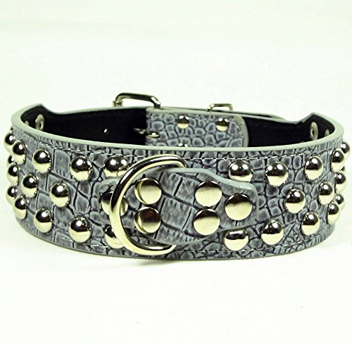 Dogs Kingdom Pu Leather Studded Dog Collar&Leash 2Pcs Set Walking Pitbull Boxer Grey Xs