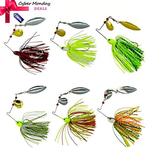 Shaddock Fishing Fishing Spinner Baits Kit - Hard Spinner Lures Multicolor Buzzbait Swimbaits Pike Bass 0.64oz (6pcs Spinner Baits)