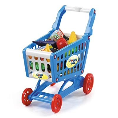"19"" Mini Shopping Cart with Full Grocery Food Toy Playset for Kids"