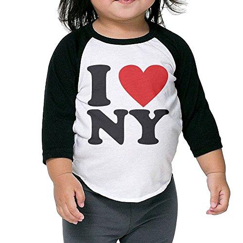 SEKODOVE Kids Sleeve Raglan Tee I Love NY Children Sleeves Raglan T Shirt Toddler Bottoming Shirt by SEKODOVE