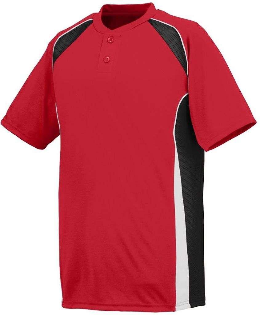 Augusta SportswearメンズベースHit Baseball Jersey B00HJTLSF6 Large|レッド/ブラック/ホワイト レッド/ブラック/ホワイト Large