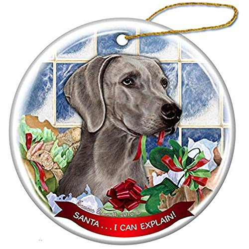 Cheyan Weimaraner Dog Porcelain Hanging Ornament Pet Gift Santa I Can Explain for Christmas Tree and Year Round