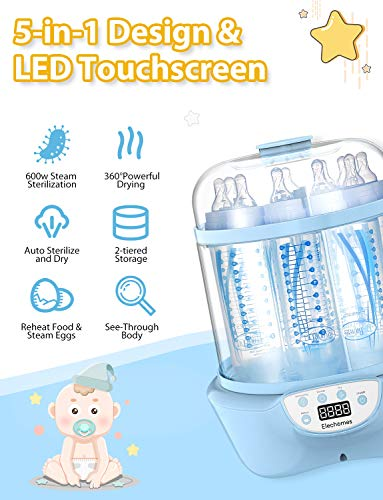 51XyFOtKoJL - Elechomes Baby Bottle Sterilizer And Dryer, BPA Free 600W Electric Steam Sterilizer, Fit For 8-Ounce Dr Brown Bottle And Easy To Operate