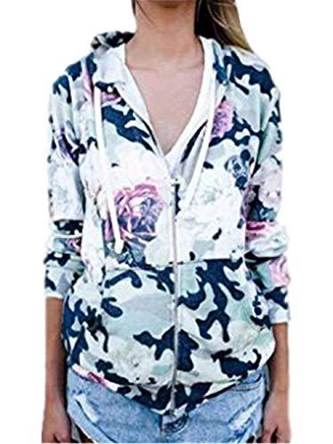 Sportivo Stlie Cappotto Grazioso Blu Tempo Sportivi Moda Stampato Autunno Cappuccio Facile Donna Outwear Relaxed Primaverile Libero Giubbino Giacca Lunghe Incappucciato Zip Con Maniche W67gpqxczn