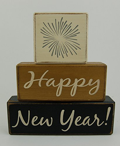 NEW! Ready To Ship! Happy New Year -Fireworks - Primitive Country Wood Stacking Sign Blocks Seasonal Christmas Winter Snowman Home Decor -