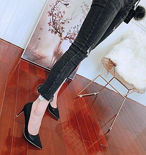 Xue de 7CM Chicas Hembra la as Zapatos con Frescas Baja Corte Negro 36 Bien Salvaje Peque Zapatos Qiqi Hembra Tacones de Acentuado Boca rBY6Trq