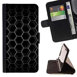 For Apple Iphone 5C - Abstract Hex Honeycomb /Funda de piel cubierta de la carpeta Foilo con cierre magn???¡¯????tico/ - Super Marley Shop -