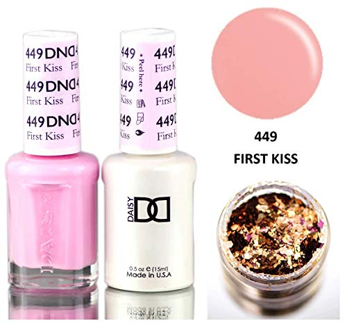 Daisy DND SUMMER COLLECTION Soak Off GEL POLISH DUO, All In One Gel Lacquer + Matching Nail Polish Color for Nails (with bonus side Glitter) Made in USA (First Kiss (449))