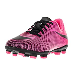 NIKE Kids Jr Bravata II FG Soccer Cleat (10 M US Little Kid, Pink Black/Black/Black)