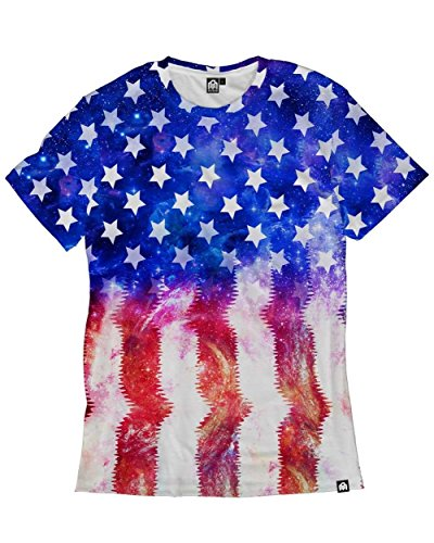 INTO THE AM Galaxy, Stars & Stripes Men's Casual Tee Shirt (4X-Large) (Stars Large Casual Mens Clothing)