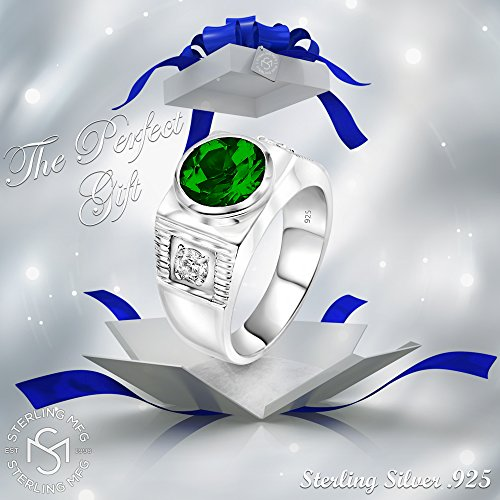 Men's Sterling Silver .925 Ring with Green Round Center CZ Stone and 2 White Cubic Zirconia (CZ) Stones by Sterling Manufacturers (Image #7)