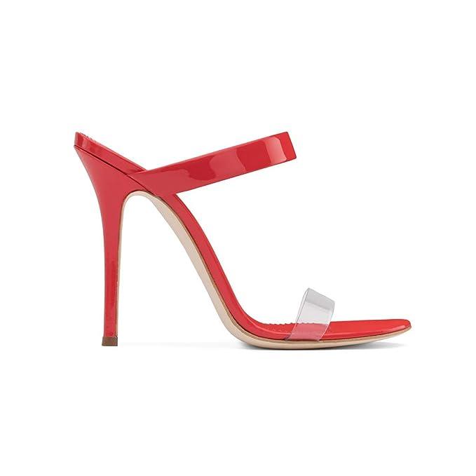 Sandalias De Dedo Abierto De Hebilla Transparente De La Señora Personalidad Romana Zapatos De Playa De