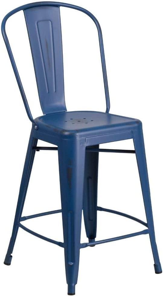 """Flash Furniture Commercial Grade 24"""" High Distressed Antique Blue Metal Indoor-Outdoor Counter Height Stool with Back"""