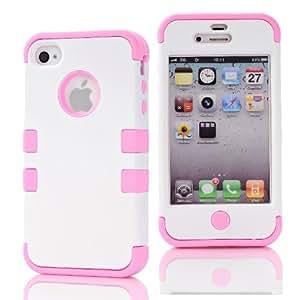 SHHR-HX4G136N Hybrid Cover Case for Apple iPhone4 4s 4G - White/Light Pink