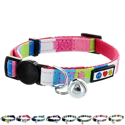 Pawtitas Pet Soft Adjustable Multicolor Cat Collar with Safety Buckle and Removable Bell Pink / Blue / Teal / Yellow -