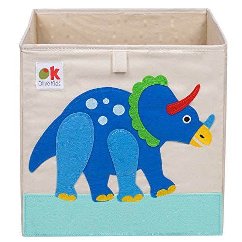 Wildkin Olive Kids 13 Inch Storage Cube, Perfect for Promoting Organization, Measures 13 x 13 x 13 Inches, Coordinates with Other Room Décor – Dinosaur ()