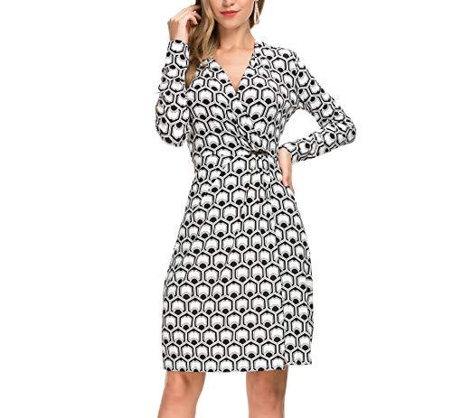 Derminpro Wear to Work, Womens Simple Classical Geometric Print Low Cut V-Neck Faux Wrap Dress Black White ()