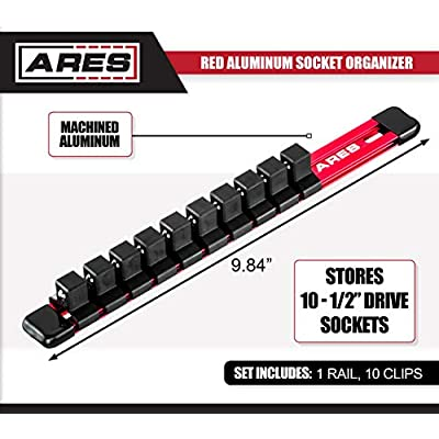 ARES 70342-1/2-Inch Drive Aluminum Socket Organizer - Store up to 10 Sockets and Keep Your Tool Box Organized - Sockets Will Not Fall Off this Rail: Home Improvement