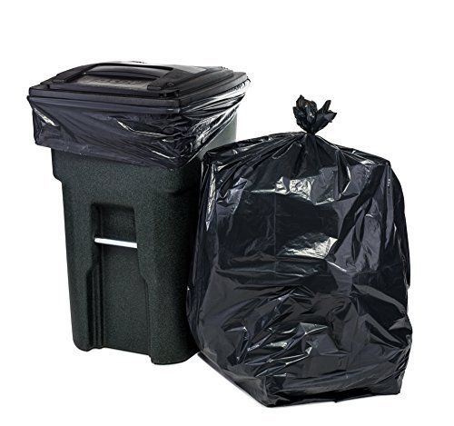 Plasticplace 64-65 Gallon Trash Can Liners for Toter │ 2.0 Mil │ Black Heavy Duty Garbage Bags │ Rolls │ 49