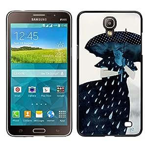 LECELL--Funda protectora / Cubierta / Piel For Samsung Galaxy Mega 2 -- Lluvia Triste Dama Gris Mujer --