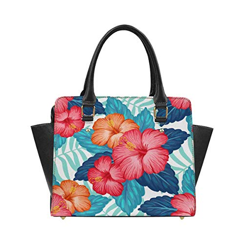 InterestPrint Hawaiian Pattern with Exotic Tropical Plants and Hibiscus Flowers Handbags Tote Bag Shoulder Bag Top Handle Satchel Purse