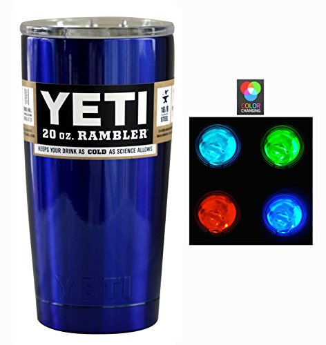 Intense Blue Powder Coated Yeti Coolers 20 oz Rambler Tumbler - Insulated Stainless Steel - Keeps your 20oz beverage hot or cold for hours (20oz)